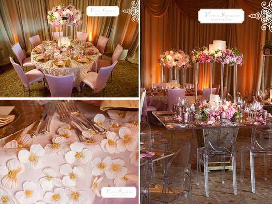 Luxe pink, cream and gold wedding reception tablescapes and decor
