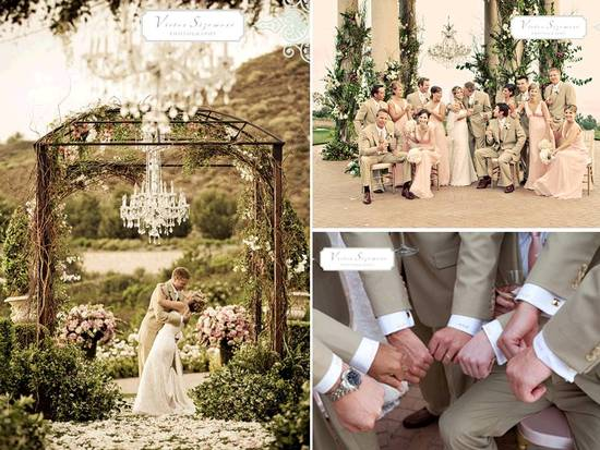 Stunning chandelier hangs from flower-adorned ceremony arch