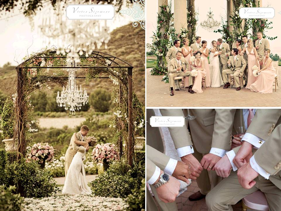 Stunning Chandelier Hangs From Flower-adorned Ceremony