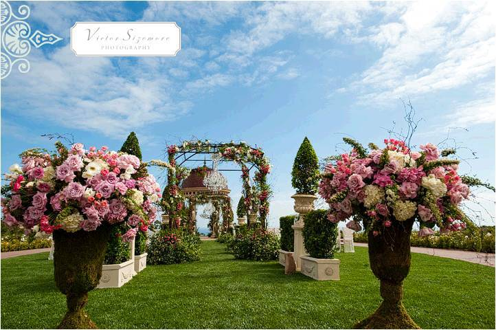 Stunning Outdoor Wedding Venue In California With Fl Topiaries Lining The White Aisle