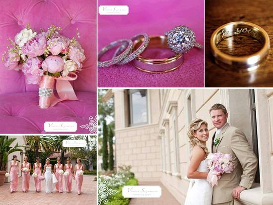 Romantic outdoor California wedding at Pelican Hill Resort; light pink peony bridal bouquet