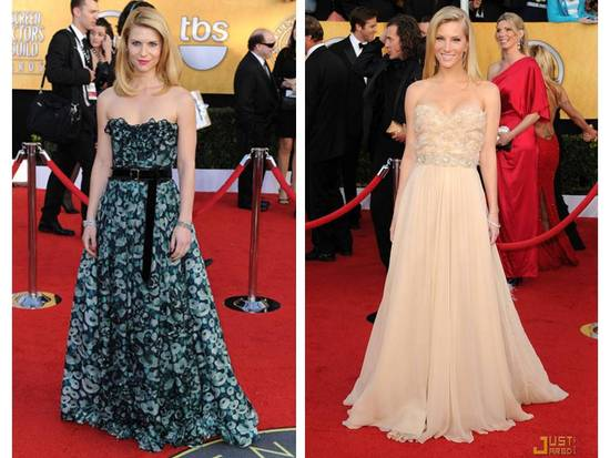 Claire Danes and Heather Morris done a-line strapless gowns with on-trend belts
