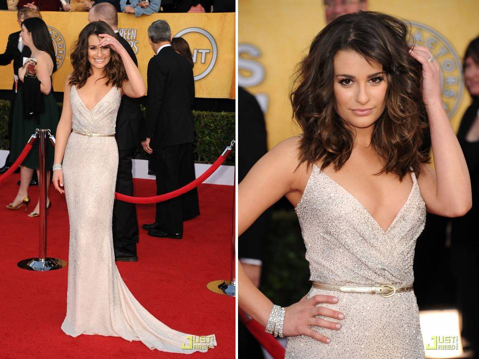 Lea Michele wears a silver beaded Oscar de la Renta gown to 2011 SAG awards