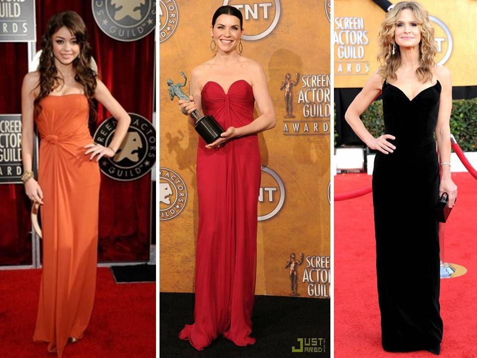 The modern column silhouette was the go-to gown shape for the 2011 SAG awards