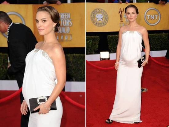 Natalie Portman wore wedding day white down 2011 SAG red carpet- strapless white column gown by Azza