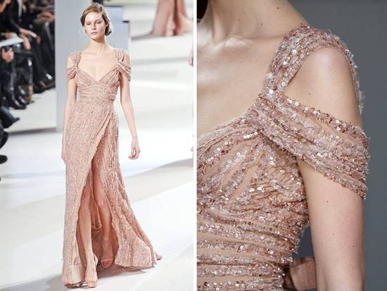 Off-the-shoulder nude sequined couture gown with slit by Elie Saab