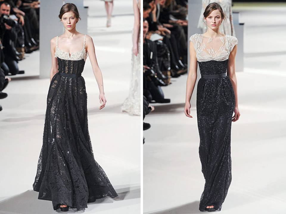 Black and ivory lace haute couture gowns by elie saab for Haute couture details