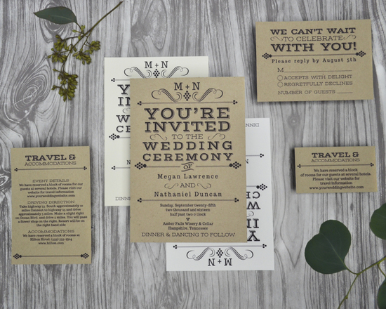 Vintage Winery Wedding Invitations for a vineyard or rustic wedding