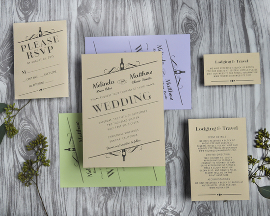 Vintage Winery Wedding Invitations for a vineyard or rustic wedding 2