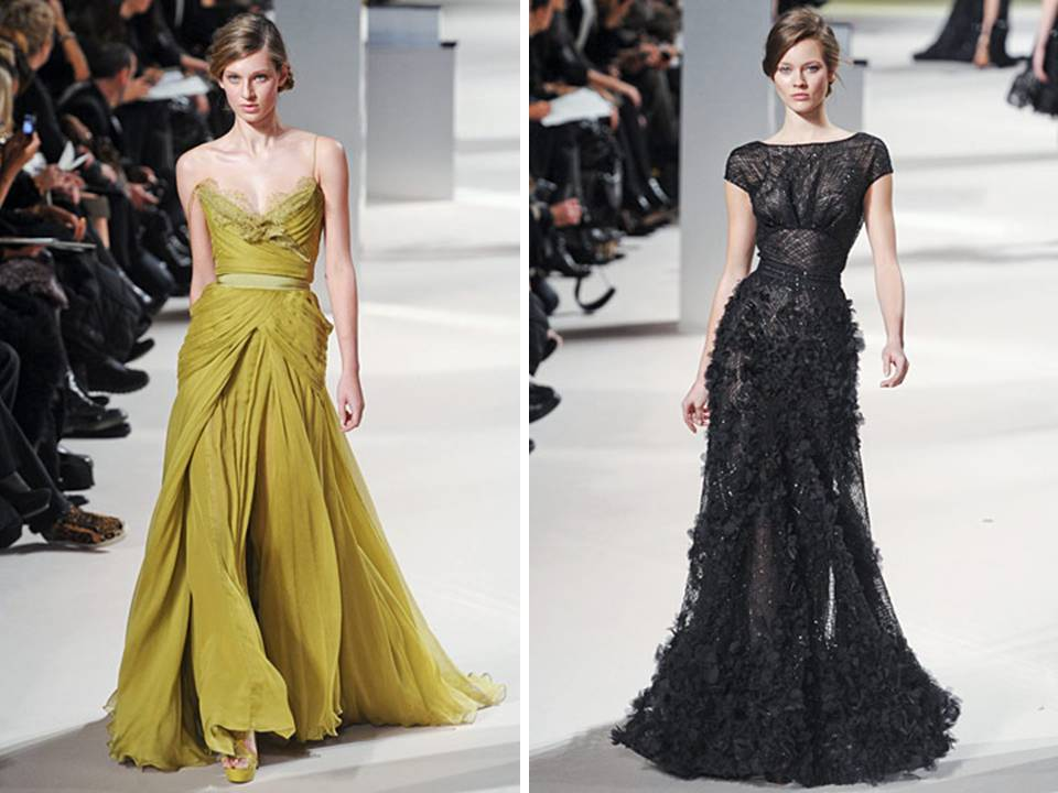 Chartreuse strapless a-line gown and black bateau neck gown by Elie Saab