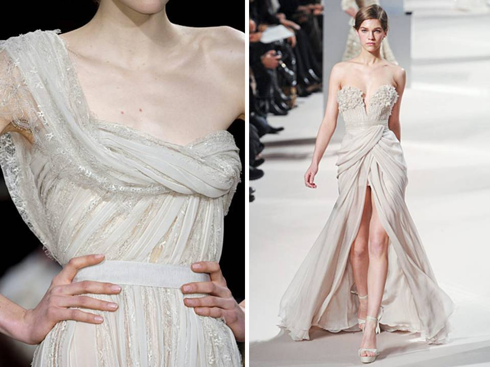 One-shoulder draped Elie Saab couture gown with metallic details