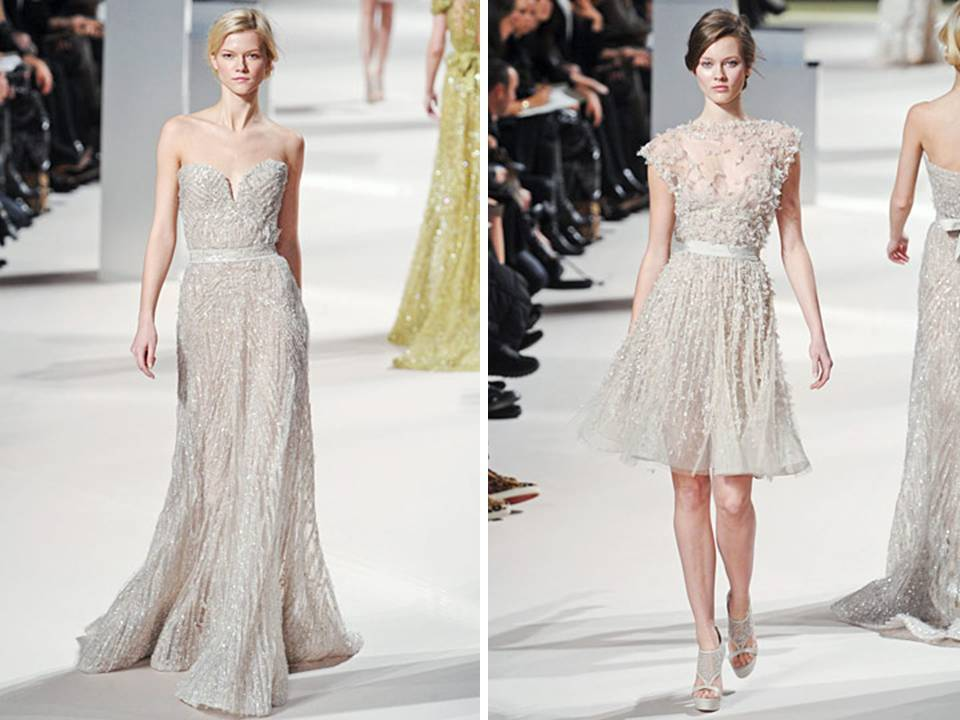 Stunning off-white Elie Saab gowns with beading embellishments
