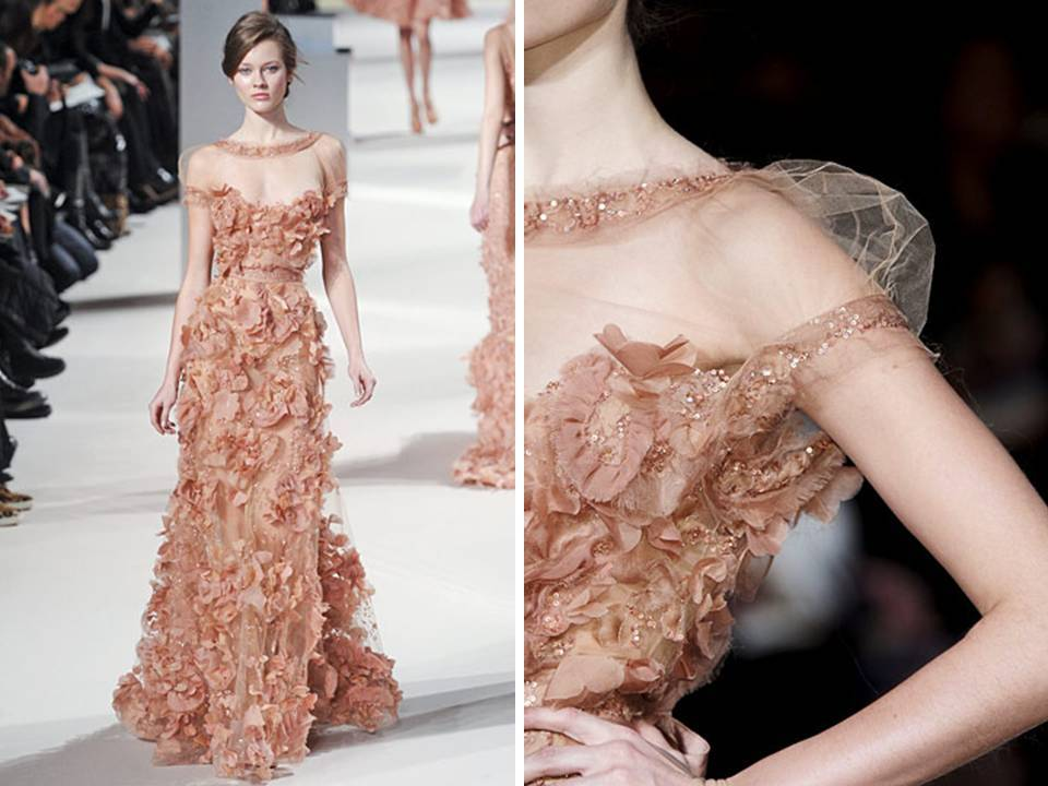 Deep blush Elie Saab couture gown with lots of texture and detailing