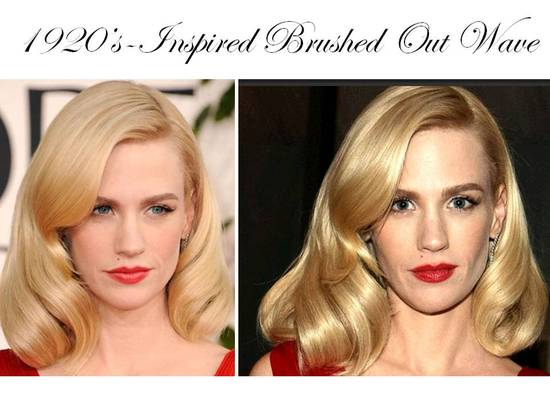 January Jones wears a 20's-inspired brushed out wave hairstyle to 2011 Golden Globes