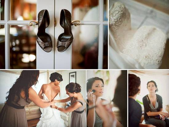 Peep-toe chocolate brown bridal heels; ivory lace wedding dress
