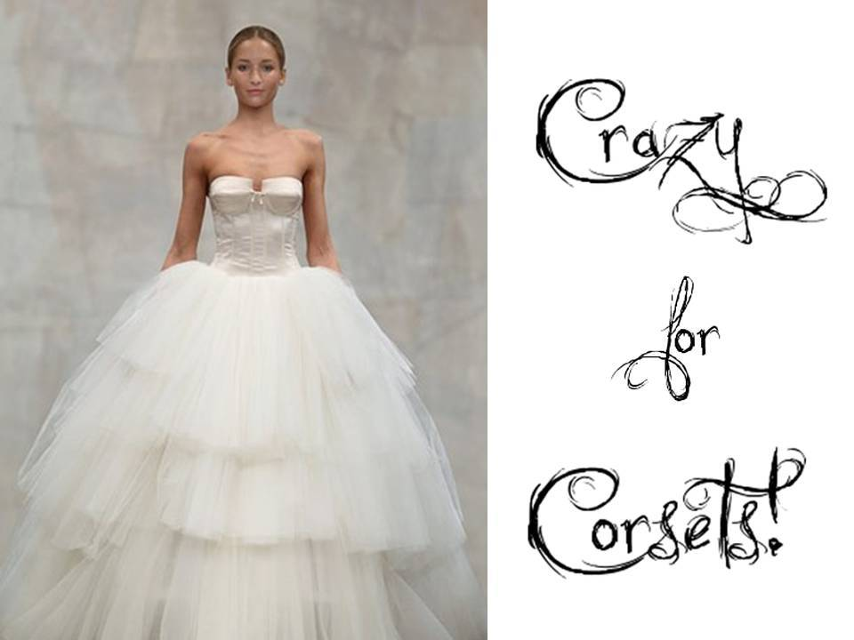 2011 wedding dress with tulle ballgown skirt and fitted corset bodice