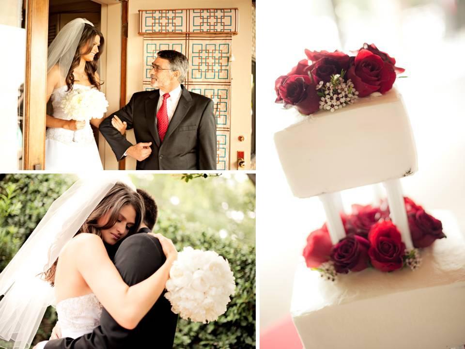 White-wedding-cake-red-roses-bride-in-white-mermaid-wedding-dress.full