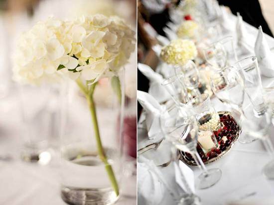 Simple and fresh wedding reception flowers and table centerpieces