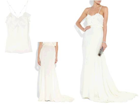 Two piece silk-chiffon bridal top and skirt, perfect for a beach wedding