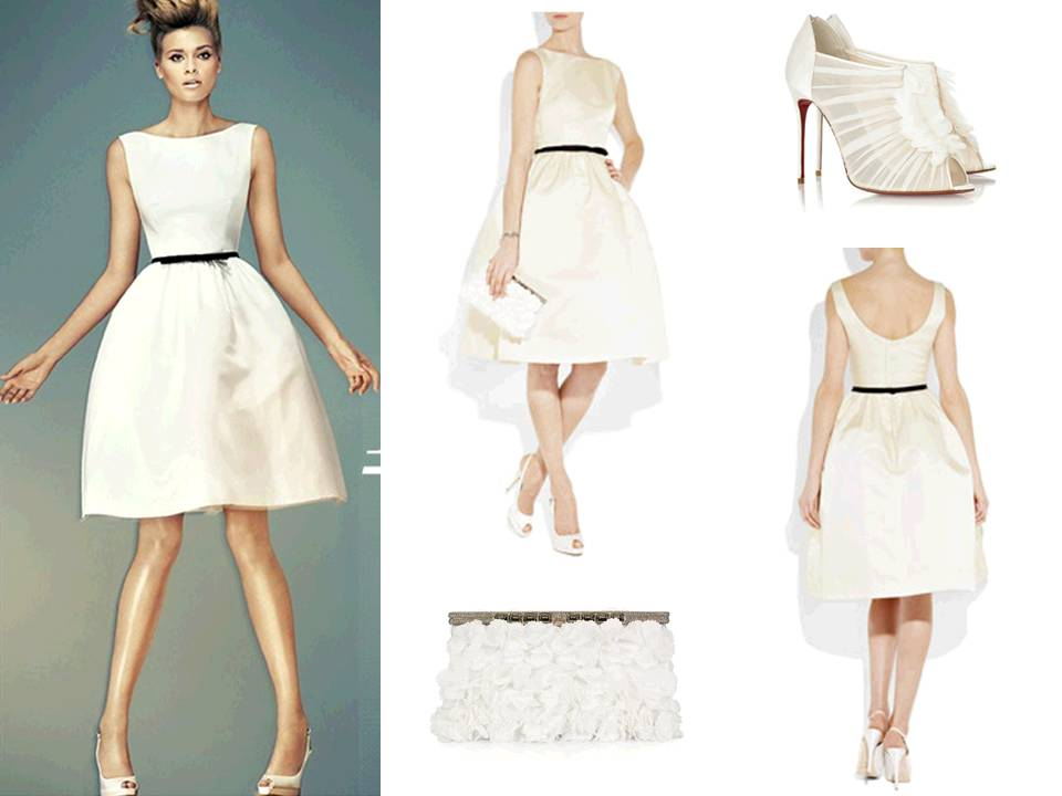 Adorable and chic ivory bateau neck knee length wedding for Ivory knee length wedding dresses