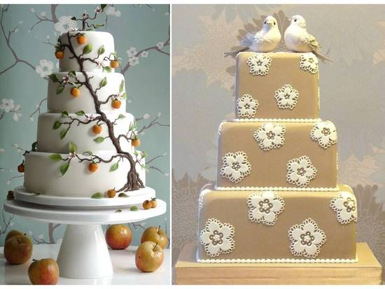 Classic white wedding cake with nature-inspired Cherry Blossoms design