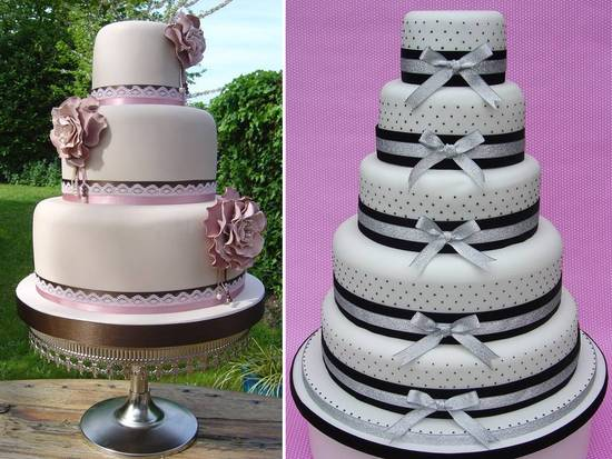 Romantic and feminine round stacked fondant wedding cakes
