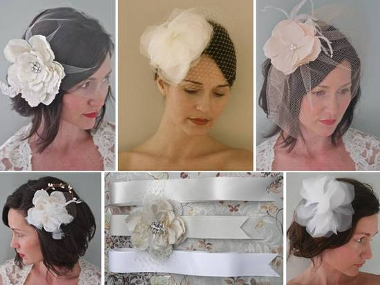 Beautiful and eco-friendly custom made bridal belts, hair pieces, and veils