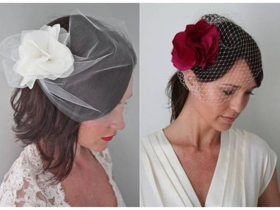Stunning vintage-chic bridal veils and headpieces- ivory and deep red