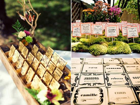 Vibrant, vintage-inspired wood wedding reception escort cards