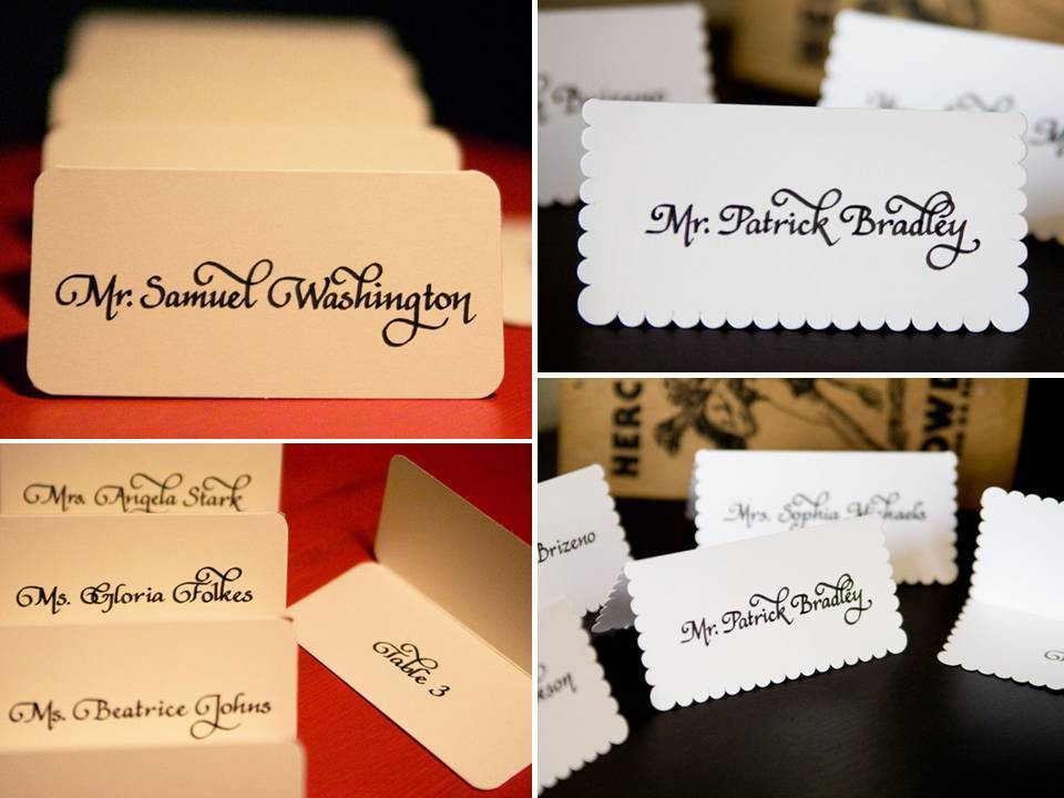 Custom wedding reception escort cards with hand-written calligraphy