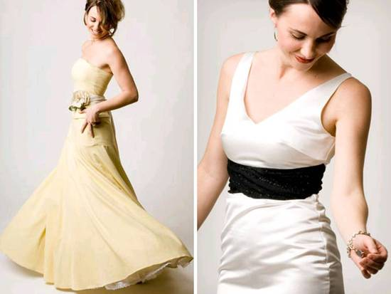 Deep beige a-line strapless eco-friendly wedding dress; ivory scoop neck bridal gown with black sash
