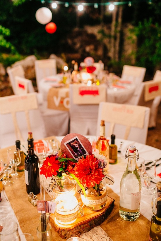 Outdoor French countryside reception decor