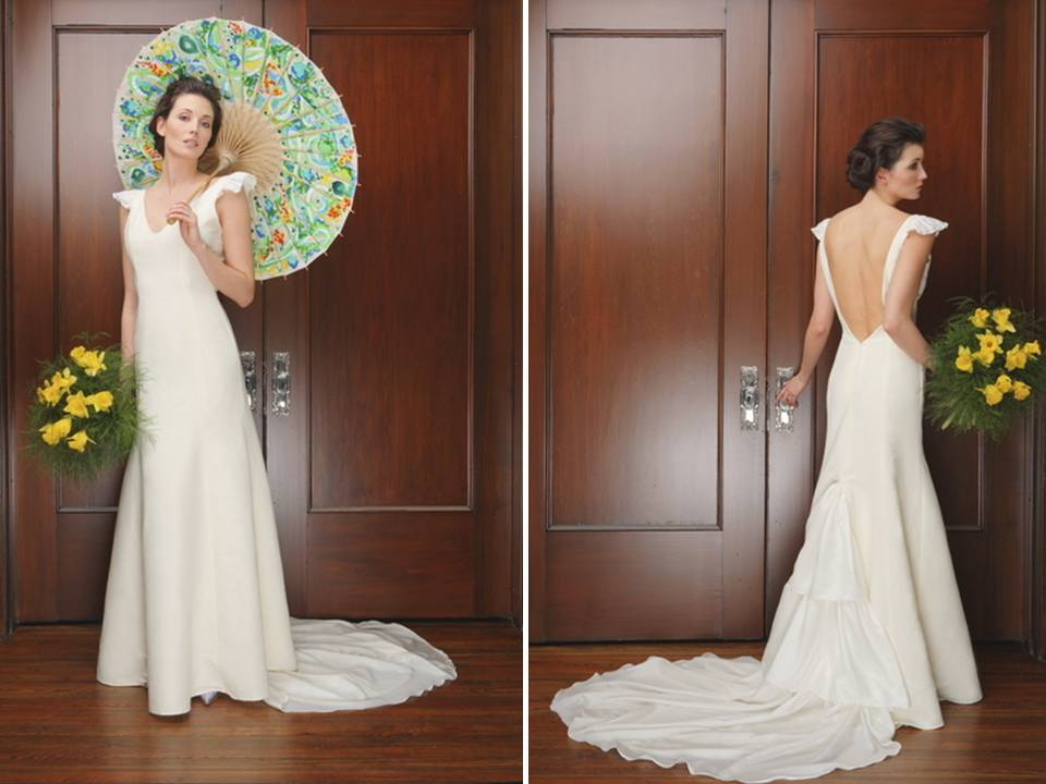 Modified mermaid slip style wedding dress with dramatic for Wedding dresses with dramatic backs