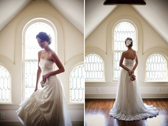 Romantic ivory a-line strapless wedding dress in eco-friendly fabric