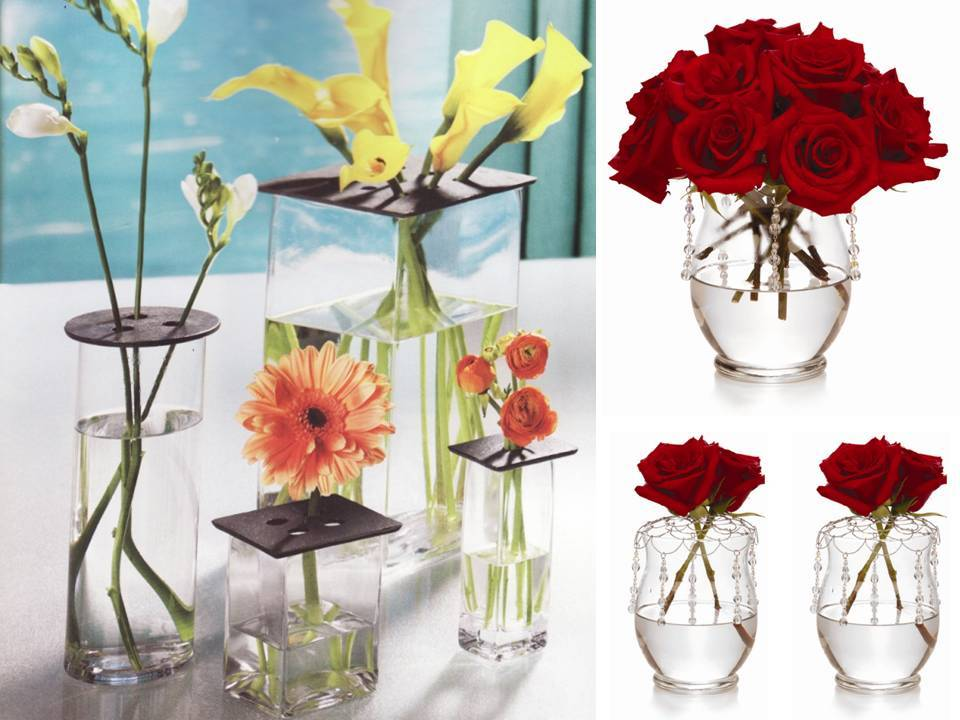 Chic diy wedding flower centerpiece red roses clear Simple flower decoration ideas