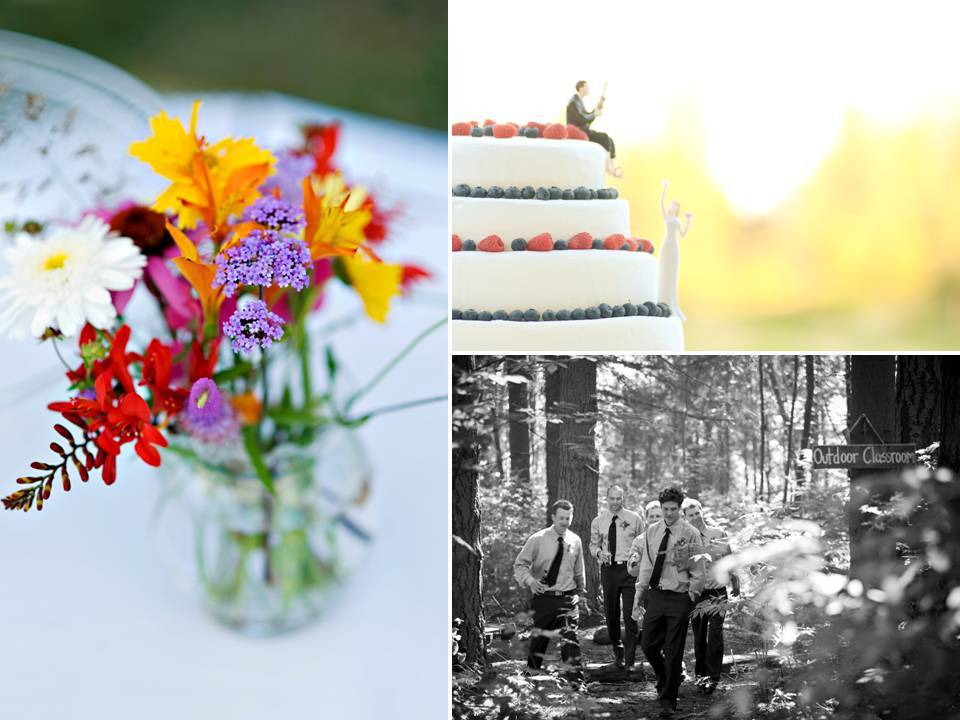 Outdoor-summer-wedding-casual-ceremony-white-wedding-cake-colorful-floral-centerpieces.full