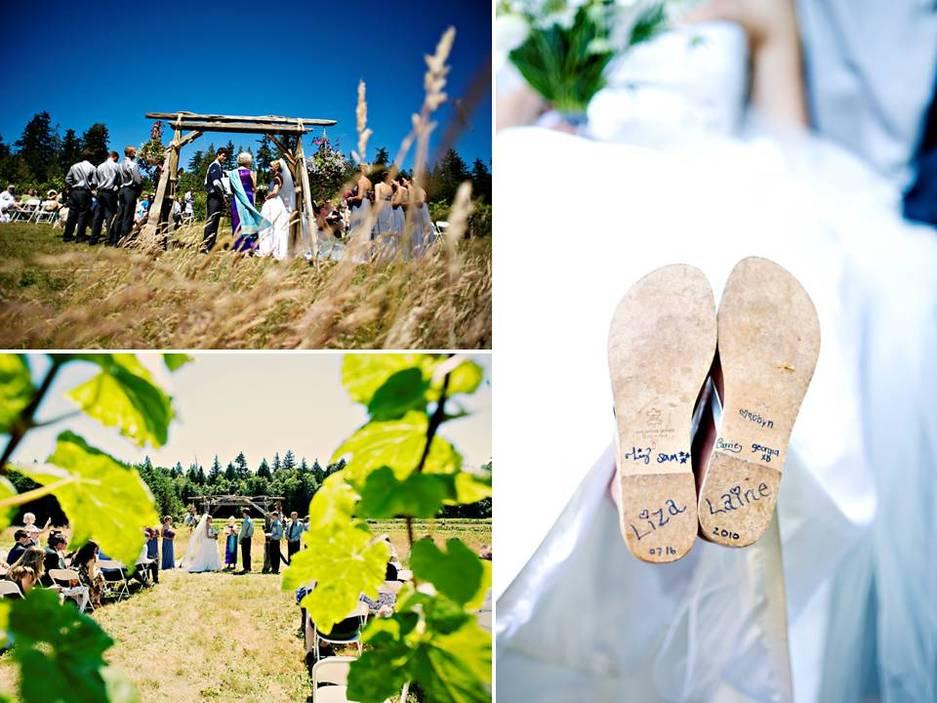 Bright Vibrant Wedding Flowers At Outdoor Summer Wedding Ceremony