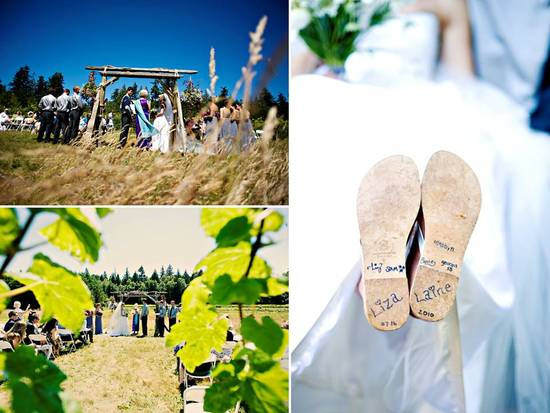 Bride shows off special writing on bottom of bridal shoes