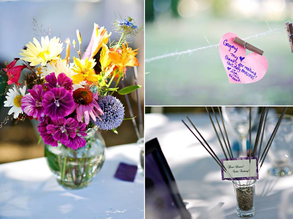 Outdoor-summer-wedding-casual-low-key-colorful-wedding-flowers-centerpieces.full