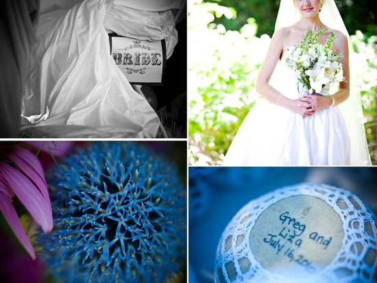 DIY wedding details- something blue for the bride, personalized guest favors