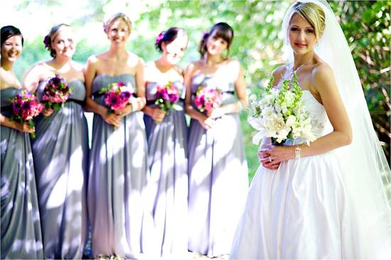 Outdoor casual wedding in Vancouver- grey bridesmaids dresses, white bridal bouquet