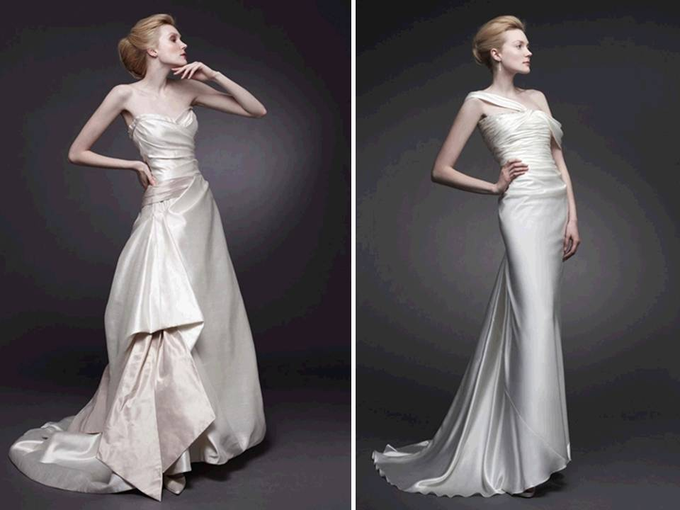 Slinky silk ivory wedding dresses by peter langner for Satin silk wedding dresses