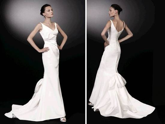 White scoop neck mermaid wedding dress with covered buttons down back