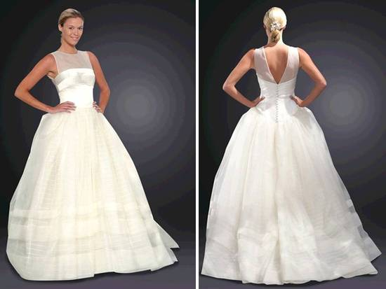 Stunning ivory ballgown wedding dress with illusion neckline