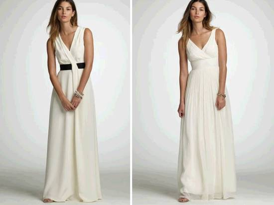 Ivory v-neck wedding dresses by J.Crew- modified a-line, black detail