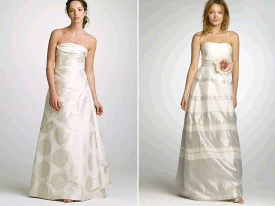 Strapless a-line 2011 J.Crew wedding dresses with champagne details