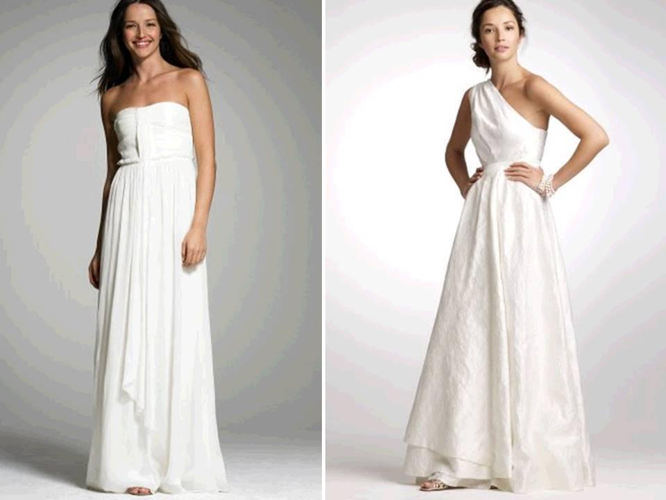 empire J.Crew wedding dress; one-shoulder a-line wedding dress