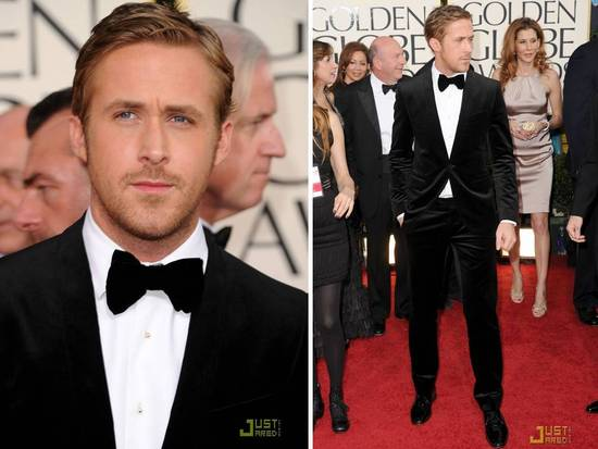 Ryan Gosling rocked a one-button black velvet tux on the 2011 golden globes red carpet
