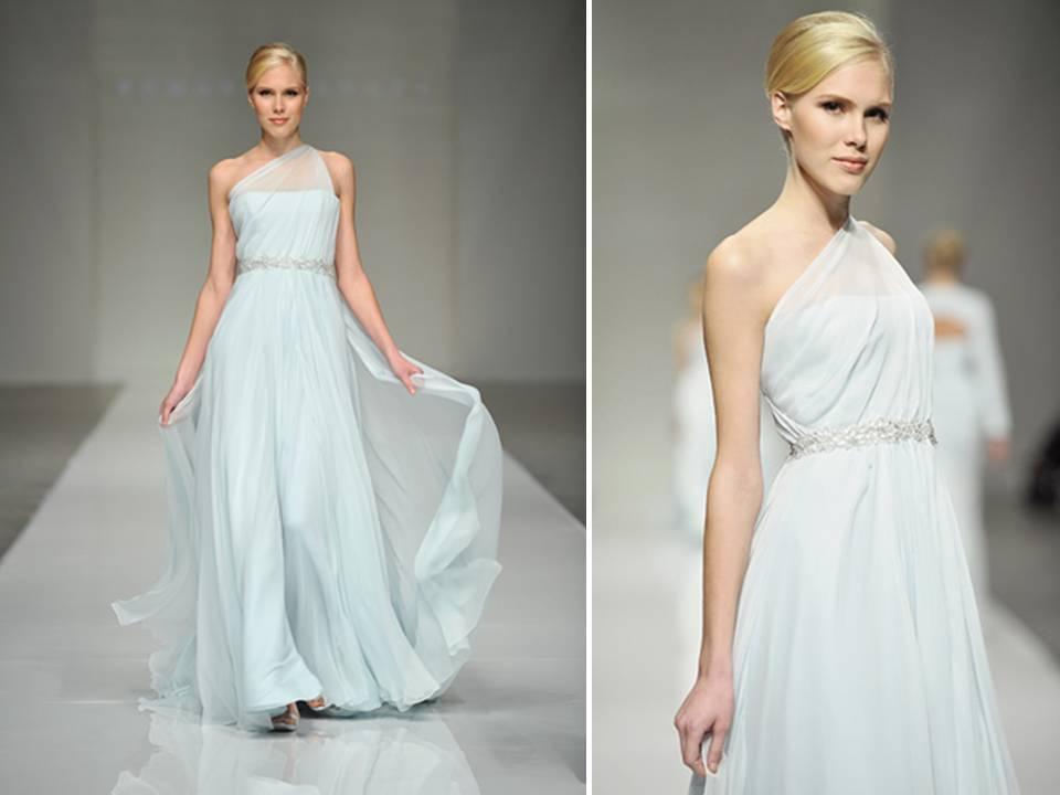 blue one shoulder Romona Keveza wedding dress with jeweled bridal belt