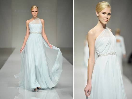 Ice blue one shoulder Romona Keveza wedding dress with jeweled bridal belt